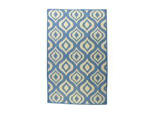 Lava Pillows Floor Decorative Ikat 94x134 Inch Outdoor Reversible Rug Blue/Natural