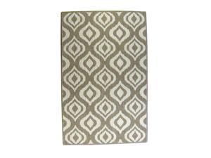 Lava Pillows Floor Decorative Ikat 94x94 Round Outdoor Reversible Rug Brown/Natural