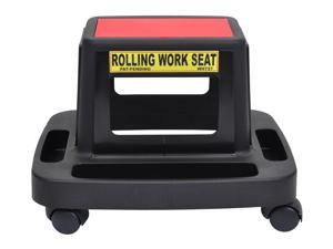 """Offex Rolling Mechanics Work Seat with Red Lid Top 2"""" Casters - Black"""
