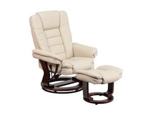 Flash Furniture Contemporary Beige Leather Recliner And Ottoman With Swiveling Mahogany Wood Base [BT-7818-BGE-GG]