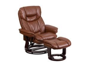 Flash Furniture Contemporary Brown Vintage Leather Recliner And Ottoman With Swiveling Mahogany Wood Base [BT-7821-VIN-GG]