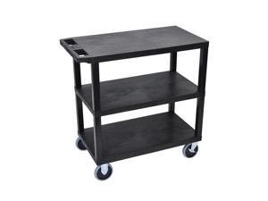 Luxor Black 18x32 Cart with 3 Flat Shelves