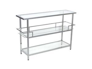 Studio Designs Home Chrome Portico Bar Table with Clear Glass