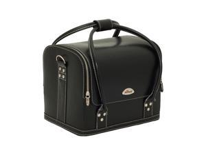 SUNRISE 4-Tiers Expandable Trays Roll Top Black Leather-Like Professional Makeup Beauty Train Case - C3025