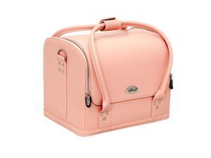 SUNRISE 4-Tiers Expandable Trays Roll Top Pink Leather-Like Professional Makeup Beauty Train Case - C3025