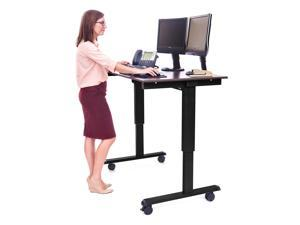 "Luxor Stande 48"" Electric Standing Desk - Black Frame with Dark Walnut Top"