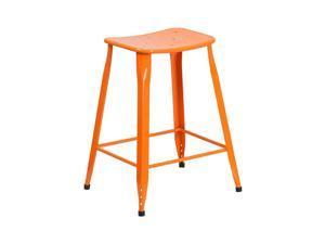 Flash Furniture 24'' High Orange Metal Indoor-Outdoor Counter Height Stool