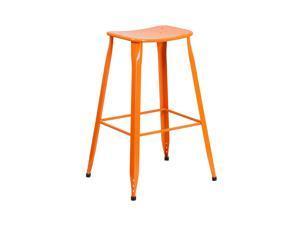 Flash Furniture 30'' High Orange Metal Indoor-Outdoor Barstool