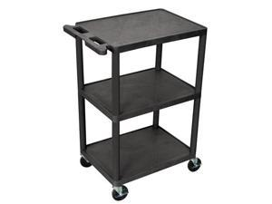 Luxor 3-Shelf Portable Mobile Multipurpose Kitchen Storage Service Tuffy Utility Cart 36 W x 18 D x 39 H - Black