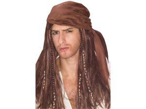 Buccaneer Wig With Beaded Bandana Brown