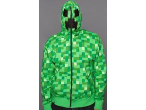 Premium Adult Minecraft Creeper Zip-Up Hoodie - Large