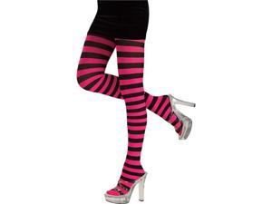 Adult Pink and Black Striped Tights - Pantyhose, Stockings, Tights