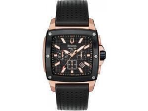 Bulova Marine Star 98B103 Men's Black Dial Leather Chronograph Watch