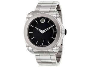 Movado Master Black Dial Titanium Bezel Stainless Steel Mens Watch 0606550