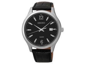 Seiko Men's SUR055 Black Leather Quartz Watch
