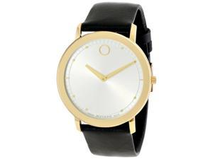 Movado TC Gold-Tone with Black Leather Strap Men's Watch