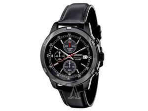 Seiko SKS439 Men's Black Leather Strap Chronograph Sport Watch