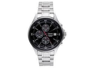 Seiko SKS491 Men's IP Bezel Stainless Steel Black Dial Chronograph Sports Watch