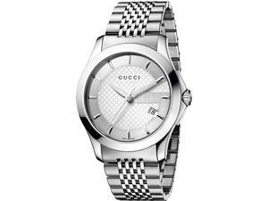 Gucci G Timeless Mens Stainless Steel Bracelet Watch YA126401