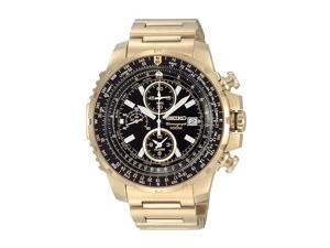 Seiko Alarm Chronograph Flight Computer Gold-Tone Mens Watch SNAD08