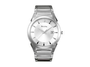 Bulova Silver DIal Stainless Steel Mens Watch 96B015