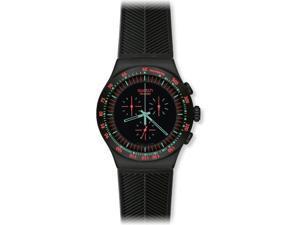 Swatch Men's Irony Chronograph Black Dial Black Rubber