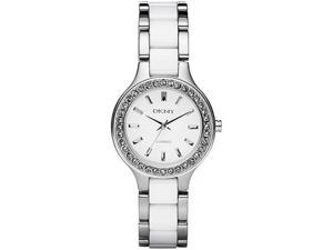 DKNY White Ceramic and Steel Ladies Watch NY8139