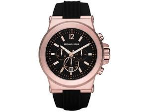 Michael Kors Chronograph Black Dial Black Rubber Mens Watch MK8184