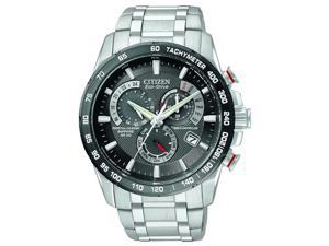 Citizen Eco Drive Black Dial Chronograph Stainless Steel Mens Watch AT4008-51E