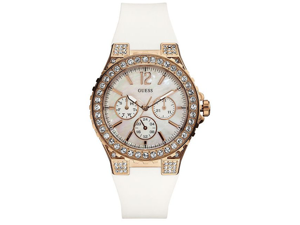 GUESS White Silicone Crystal Ladies Watch U16529L1