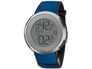 Gucci I-Gucci Digital Dial Blue Rubber Mens Watch YA114105