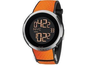 Gucci I-Gucci Sport XXL Digital Black Dial Orange Rubber Mens Watch YA114104