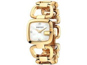 Gucci G-Gucci Mother of Pearl Diamond Dial Gold Tone Ladies Watch YA125513