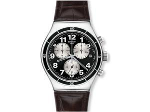Swatch Irony Browned Chronograph Black Dial Leather Strap Mens Watch YVS400