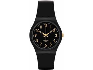 Swatch Golden Tac Black Dial Black Silicone Unisex Watch GB274
