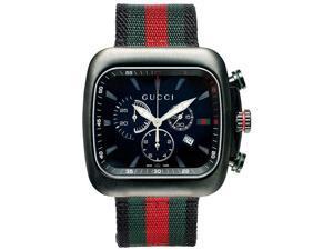 Gucci Coupe Black Dial Chronograph Nylon Strap Mens Watch YA131202