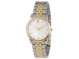 Movado Museum Mother of Pearl Diamond Dial Two-Tone Steel Ladies Watch 0606613