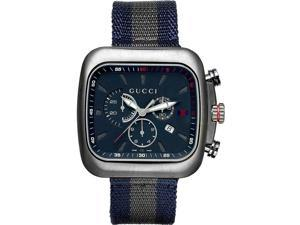Gucci Coupe Chronograph Blue Dial Blue and Grey Nylon Mens Watch YA131203