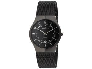 Skagen Black Dial Titanium Mesh Mens Watch 233XLTMB