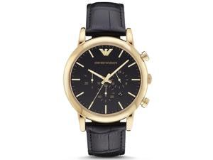 Armani Men's Watch, Black On Stainless-Steel With Black Leather Band