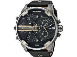 Diesel Mens Mr. Daddy DZ7348 Black Leather Quartz Watch