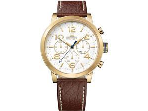 Tommy Hilfiger Gold-Tone Leather Chronograph Mens Watch 1791231