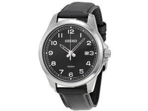 Seiko Black Leather Mens Watch SUR159