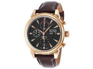 Bulova AccuSwiss Gemini Leather Automatic Chronograph Mens Watch 64C105