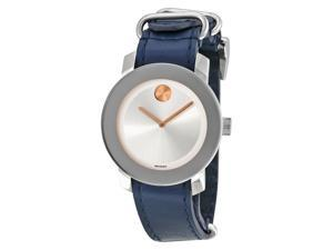 Movado Bold Blue Leather Ladies Watch 3600362