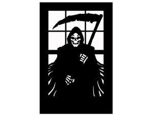Halloween Horror Scary Window Silhouette Grim Reaper Death Decoration