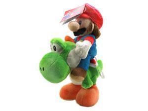 """Super Mario Bros Mario Riding Yoshi 8"""" Plush"""