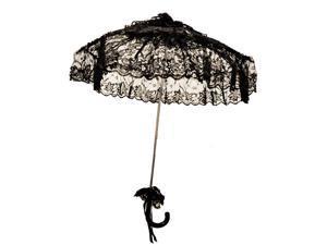 "Steampunk Victorian Costume Umbrella Parasol 24"" - Black"