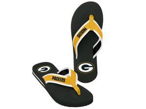 Green Bay Packers NFL Mens Team Color Contour Flip Flops Medium (8-9)