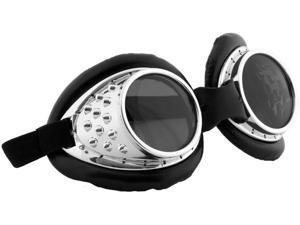 Radioactive Silver/Black Aviator Costume Goggles